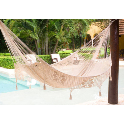 Deluxe Queen Size Outdoor Cotton Mexican Hammock in Cream colour by Mayan Legacy