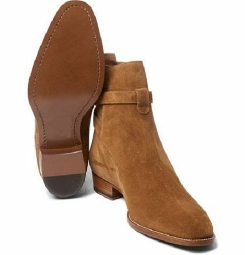 MEN HANDMADE GENUINE LEATHER SHOES HIGH BROWN ANKLE HIGH SHOES JODHPUR CASUAL FORMAL BOOTS 1aac16