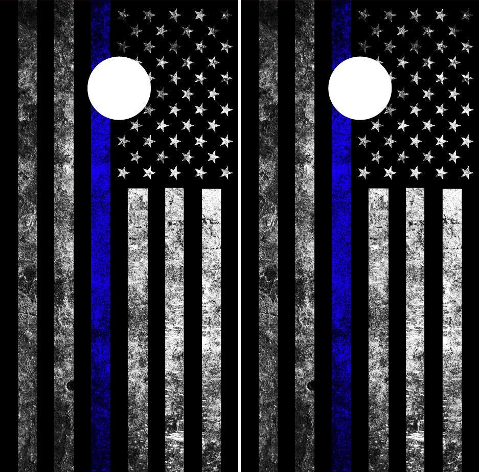 American Flag Thin bluee Stripe Police Cornhole Wraps Vinyl Board Decals Mirrored