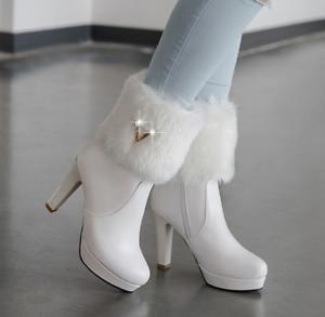 Womens Winter Ankle Boots Fur Line High Heel Platform Warm shoes Fashion Winter