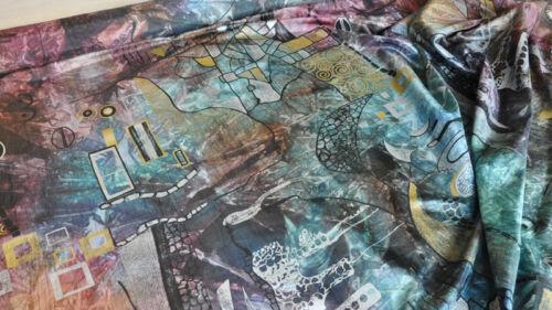 Scampoli di Taffetas stampato vinaccia Bagatelle col.93 bruciato e blu pavone