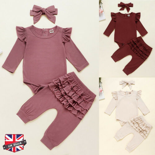 Newborn Baby Girl Ruffle Romper Tutu Pants Headband 3Pcs Clothes Outfits Set