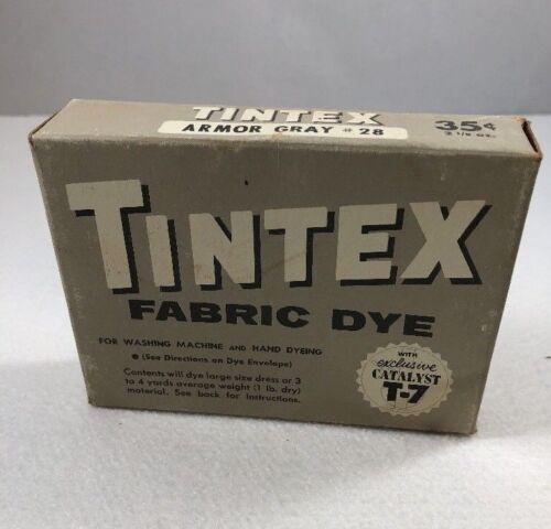 VINTAGE TINTEX FABRIC DYE 2 OZ BOX EASY HAND OR MACHINE DYE Armor Gray #28