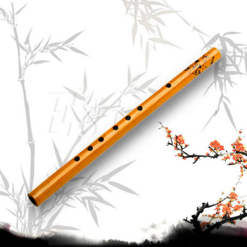 Traditional 6 Hole Bamboo Flute Clarinet  Musical Instrument Wood Color IRSQE