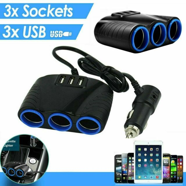 3Way Car Cigarette Lighter Socket Splitter Dual USB Charger Power Adapter 12/24V