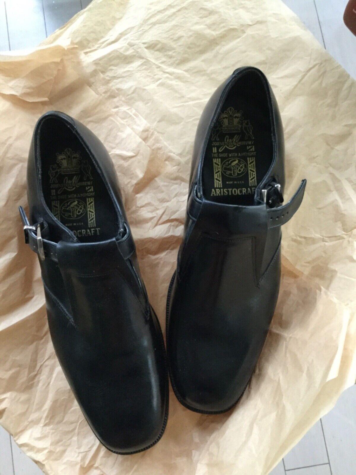 NEW Vintage Johnson & Murphy Aristocrat Black Leather Strap Dress Shoe - 9.5C