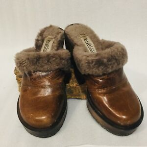 8e0fcb32c5ce62 Details about MATISSE Size 5 M CLOGS WOOD HEEL Faux FUR Lined SLIP ON Brown  LEATHER