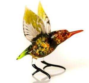 "Yellow Green Hummingbird Figurine Blown Glass /""Murano/"" Art Animal Bird Ornament"