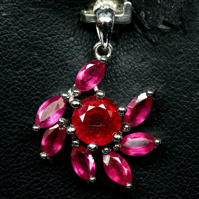 NATURAL PINK RUBY PENDANT 925 STERLING SILVER