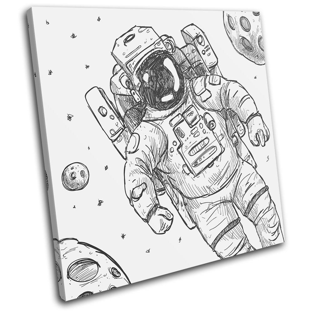 Astronaut Sketch Illustration SINGLE SINGLE SINGLE TELA parete arte foto stampa d8746c