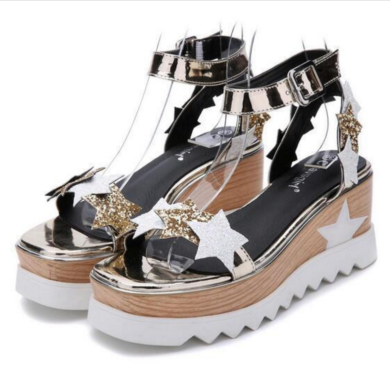 New Womens Open Toe Sequins Stars Ankle Strap Platform Wedge Heels Sandals Shoes