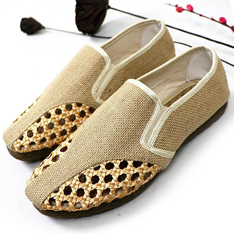 6fe062880753 Mens Canvas boat mesh Shoes Shoes Shoes classic Weave Slip-On Loafers  Driving Moccasins New cbaa0d