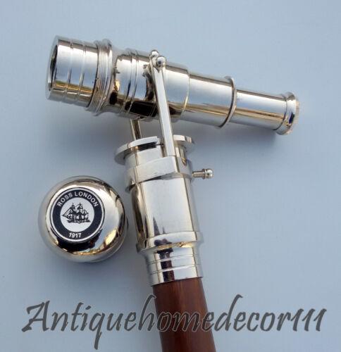 Brass Nickel Telescope Handle Hardwood Cane Walking Stick Gentleman Gift item
