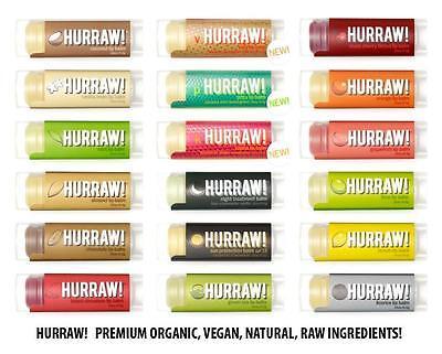 HURRAW! PREMIUM ORGANIC NATURAL VEGAN LIP BALM SMOOTH STICK ~ 22 Flavour Choices