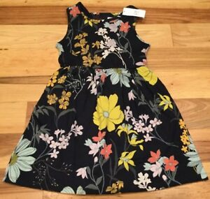 Gap-Kids-Girls-X-Small-4-5-Dress-Lightweight-Navy-Blue-amp-Floral-Sundress-Nwt