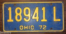Vintage original 1972 OHIO LICENSE PLATE 18941 L Auto Car Man Cave Art sign