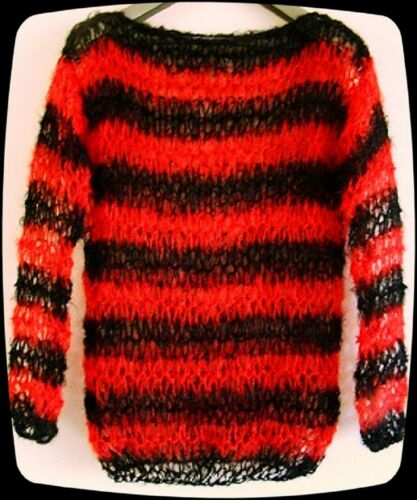 PUNK MOHAIR JUMPER hand knit in UK BLACK RED Dennis Menace holey seditionaries