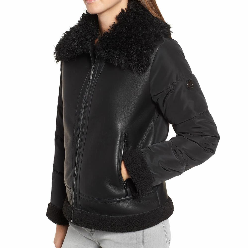 Bernardo Women's Black Faux Leather Shearling Hybrid Jacket Size Large