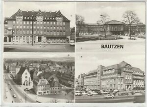 Ansichtskarte Bautzen - Haus der Sorben/Bahnhof/Am Lauengraben/Reichenturm - s/w