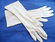 VINTAGE 1960's Color Crema / Bianco Nylon opera lunghezza Guanti da sera INGHILTERRA M