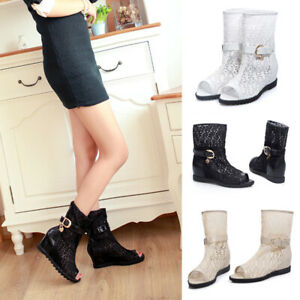 Women-Hidden-heel-Wedge-Heel-Buckle-Strap-Summer-Open-Toe-Mid-Calf-Boots-Sandals