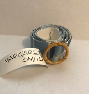 Vintage-MARGARET-SMITH-Handcrafted-Blue-Striped-Fabric-BELT-Trish-XL-NWT