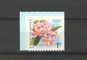 SINGAPORE-2007-FLORA-FRANGIPANI-1ST-LOCAL-2007A-BOOKLET-PANE-1-STAMP-MINT-MNH