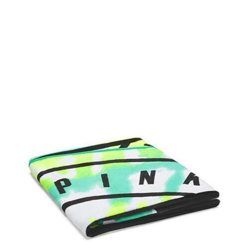 "NIP Victoria Secret Love PINK 55/"" Round Beach Towel Blanket Blue Green Tie Dye"
