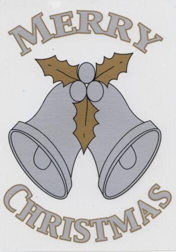 Christmas Cling On Vinyl Car Window Sticker Silver Bells cc24