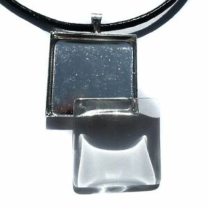 10 sets Photo Jewelry DIY Kit blank square 3/4 pendant with glass dome
