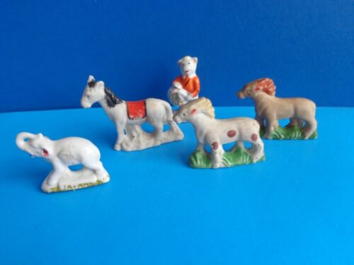 5 VINTAGE COLLECTIBLE BISQUE ANIMALS 3 HORSES, PIG, ELEPHANT MADE IN JAPAN