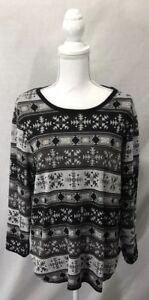 Women-s-Bobbie-Brooks-Gray-Black-White-Aztec-Print-Long-Sleeve-Top-Plus-Size-1x