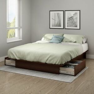 Queen Full Size Bed Frame Wood Bedroom Furniture Platform With 2 ...