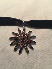 Antique Genuine Garnet 925 Sterling Silver Vintage Star Pendant