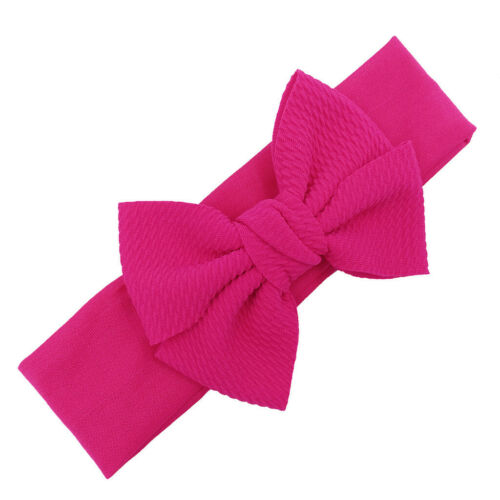 Child Headband Pure Color Hairband Bow Tie Knit Wide-Brimm Headwrap Hair Band GB