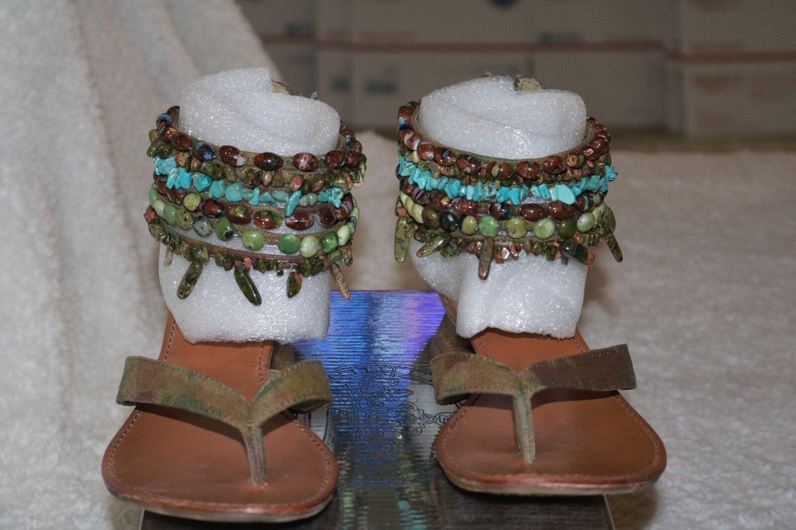 Zigi Girl Wedge Camo Sandals w  Multi Strap Bead & Stones RET  70.00 CUTE