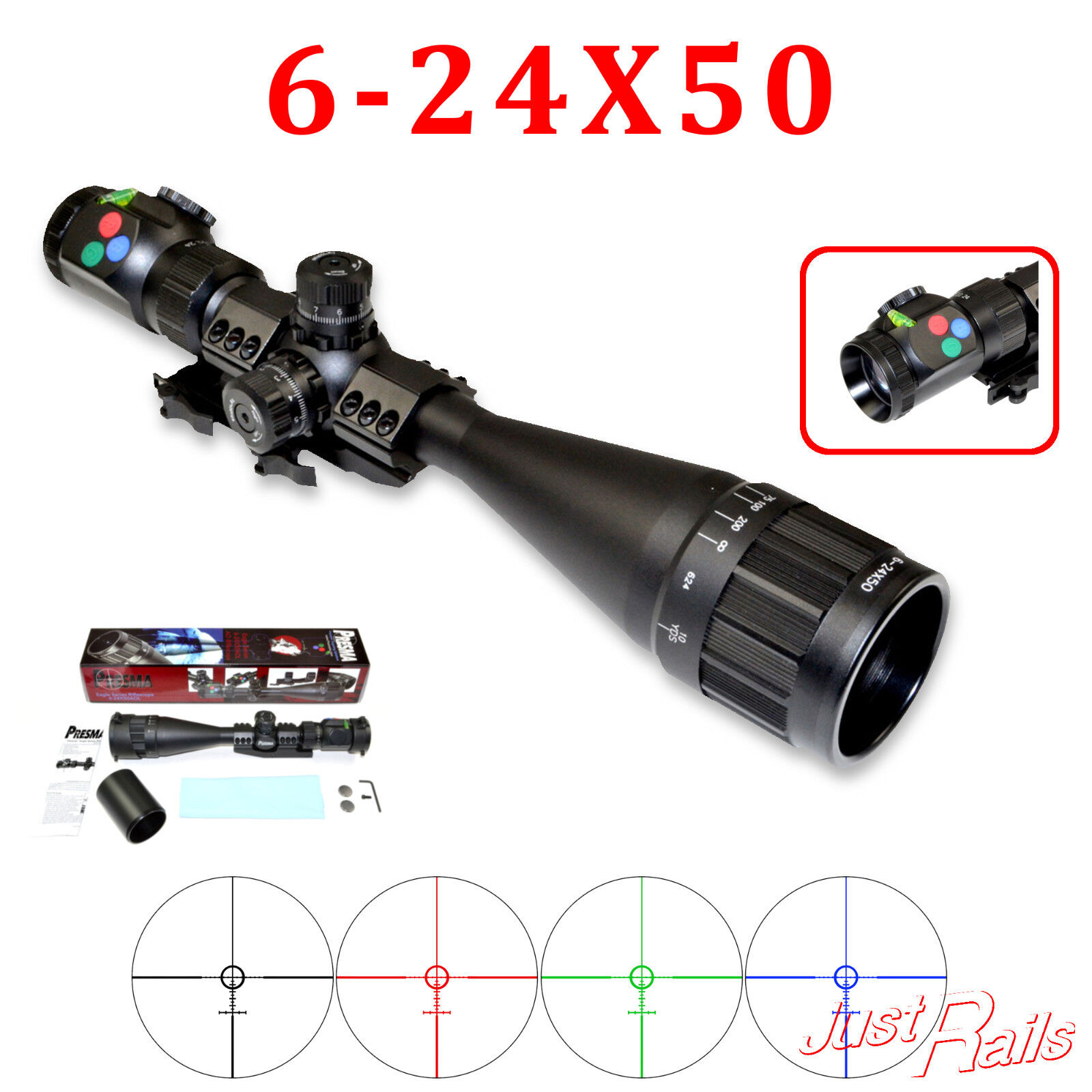 PRESMA Rifle Scope 6-24x50 AOL RGB Tri Illumination RXR Reticle (EX6-24X50AOL)
