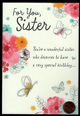 GLITTERED For Sister BIRTHDAY Greeting Card Birthday Butterflies Flowers