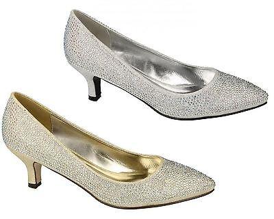 Scarpe Da Donna Corti Da Donna Medio A Stiletto Slip On Glitter Sera Misura-