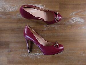 ff65c637a69 GUCCI red leather horse bit pumps authentic - Size 6.5 US   3.5 UK ...