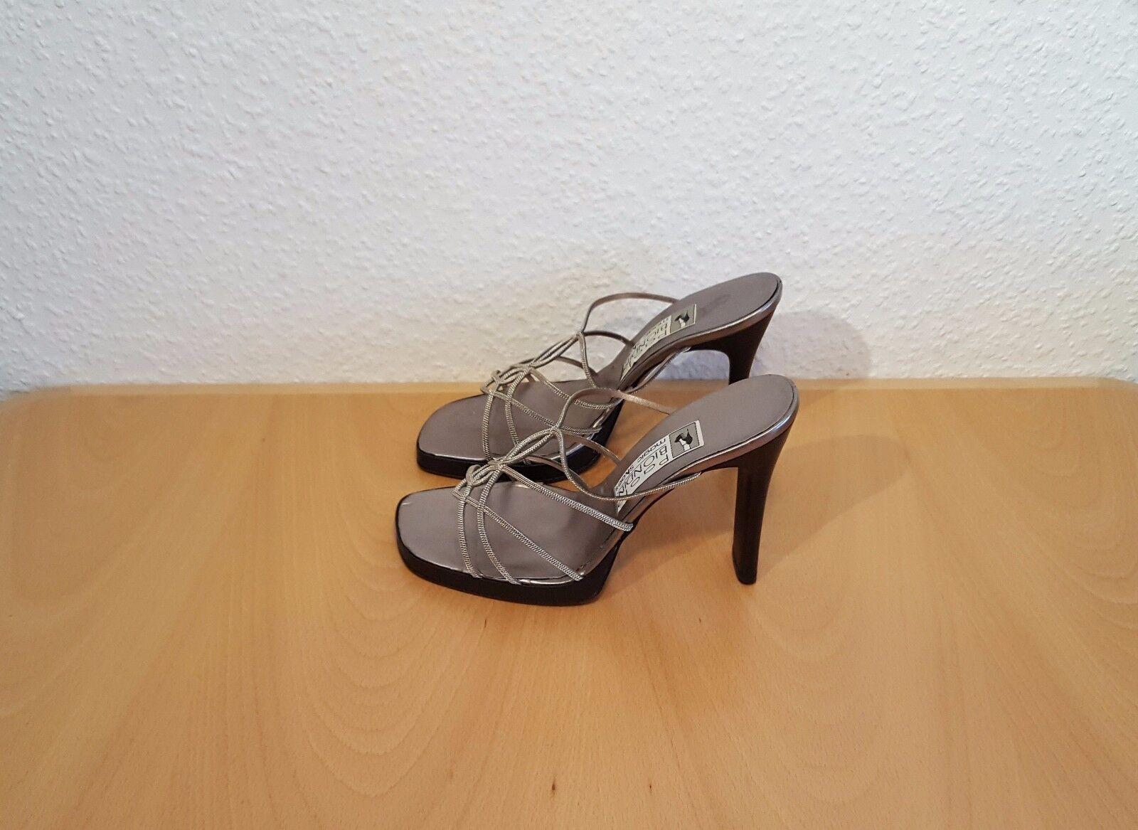 BIONDINI High Heels Sandaletten Damenschuhe Gr. 39 - 11,5cm Absätze bronze