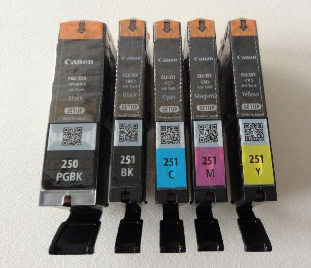 Canon PGI 250 CLI 251 CMYK Ink Cartridges Set of 5 OEM NEW Genuine Sealed