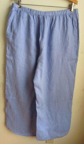 FLAX Designs  Linen Pants  Shirttail Floods   1G    NWOT   BLUEBELL