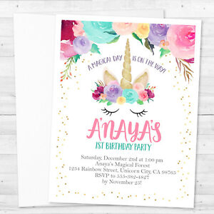 Details About 8 Unicorn Birthday Party Or Baby Shower Personalized Invitations
