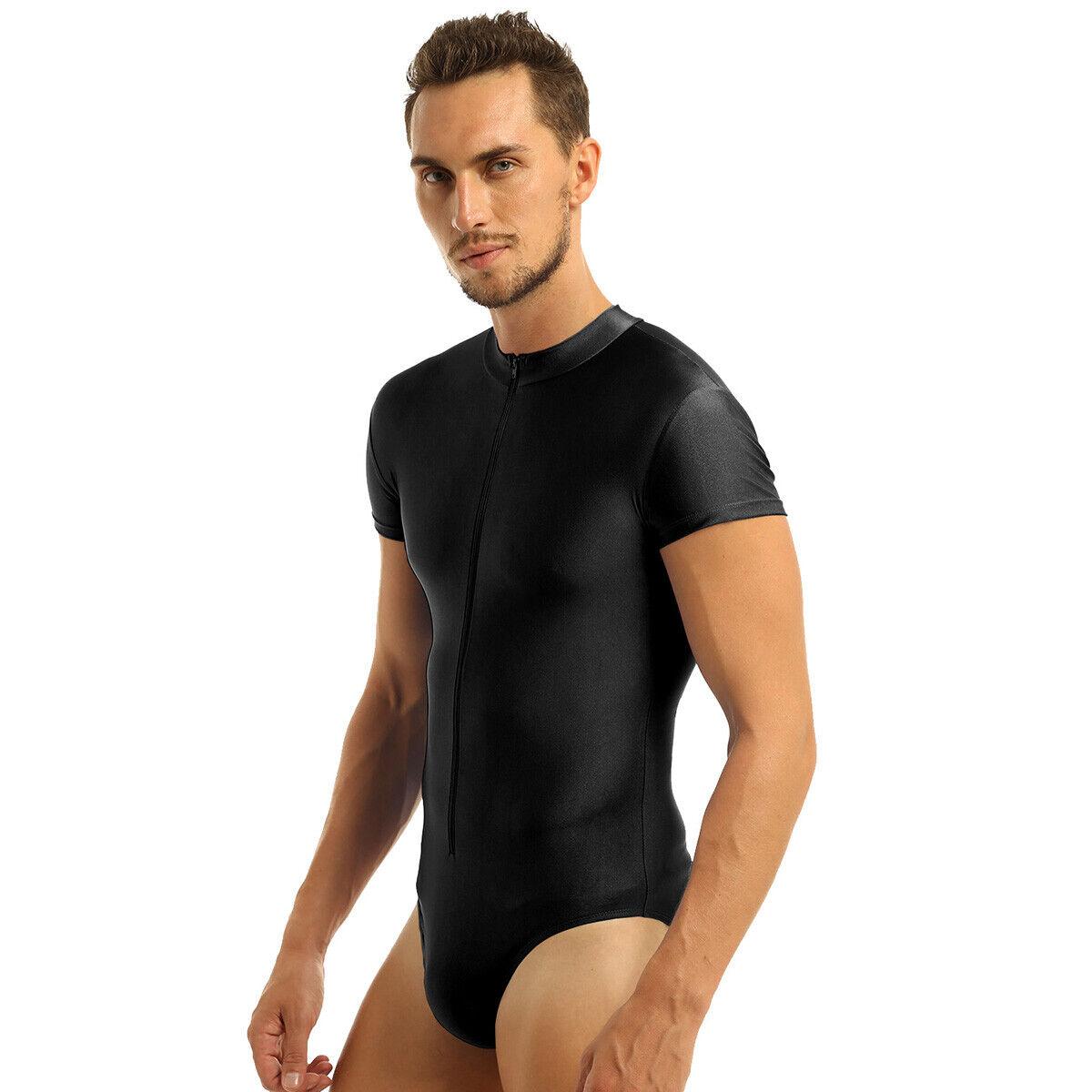 Mens Soft Tights Leotard Stand Collar Bodysuit Zipper Jumpsuit Singlet Underwear