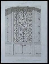 PARIS, 37 RUE JEAN GOUJON, CLOTURE GRILLE - 1873 - GRAVURE FER FORGE -  BAUDRIT
