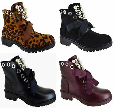 WOMENS LADIES STUDDED PEARL PUNK COMFY LOW BLOCK HEEL LADIES BOOT SHOES SIZE 3-8