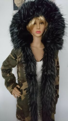 M Winter Parka Camouflage zell Fur Black Jacket 10 Finish K Fur Size wvT6w
