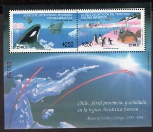CHILE-1990-SS-STAMP-51-MNH-ANTARCTIC-WHALE-PENGUINS