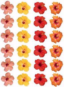 24 X Hibiscus Flowers Edible Wafer Rice Paper Cupcake Cake Hawaiian